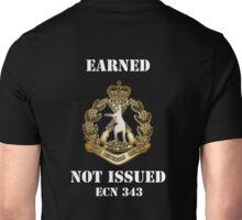 Earned Not Issued, gold badge, dark background Unisex T-Shirt