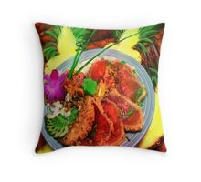 MACADAMIA NUT CRUSTED AHI TUNA WITH GRILLED MAUI ONION RELISH by miguel Throw Pillow