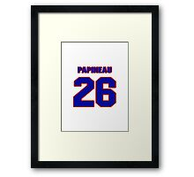 National Hockey player Justin Papineau jersey 26 Framed Print