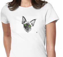 Devon Rex Cat Green Eyes Womens Fitted T-Shirt
