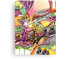Giraffes in love Canvas Print
