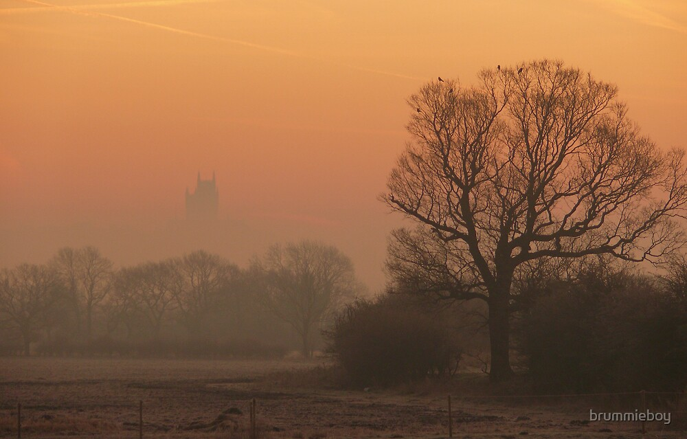 Lincoln Cathedral in the morning mist by brummieboy