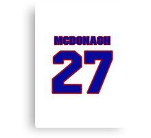 National Hockey player Ryan McDonagh jersey 27 Canvas Print