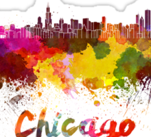 Chicago skyline in watercolor Sticker