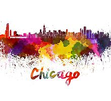 Chicago skyline in watercolor by paulrommer