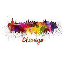 Chicago skyline in watercolor Photographic Print