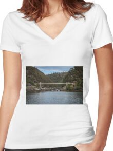 Cataract Gorge Tasmania Women's Fitted V-Neck T-Shirt