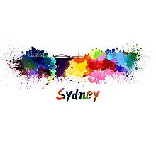 Sydney skyline in watercolor Photographic Print