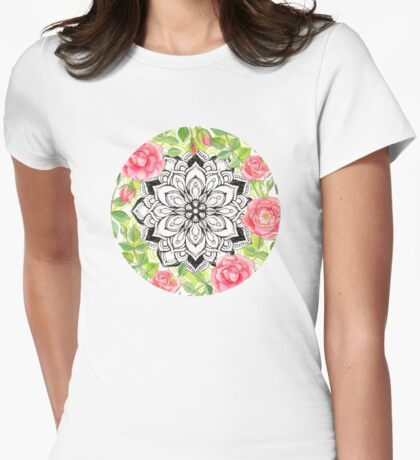 Peach Pink Roses and Mandalas on Lime Green and White Womens Fitted T-Shirt
