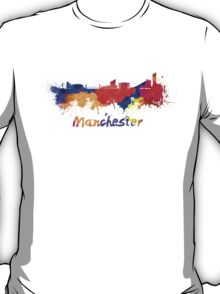 Manchester skyline in watercolor T-Shirt