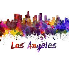 Los Angeles skyline in watercolor by paulrommer