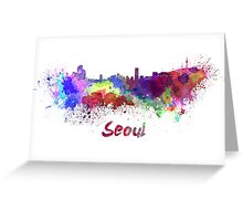 Seoul skyline in watercolor Greeting Card