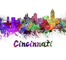 Cincinnati skyline in watercolor by paulrommer