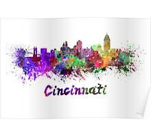 Cincinnati skyline in watercolor Poster
