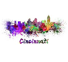 Cincinnati skyline in watercolor Photographic Print