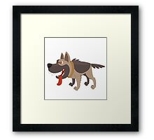 Funny smiling cartoon sheepdog Framed Print