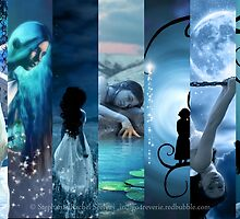 Blue Fantasy Collage by Stephanie Rachel Seely
