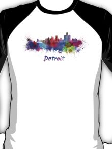 Detroit skyline in watercolor T-Shirt