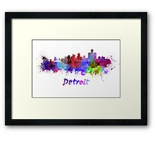Detroit skyline in watercolor Framed Print