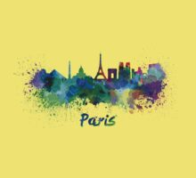 Paris skyline in watercolor Kids Clothes