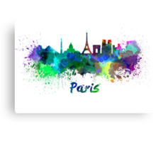 Paris skyline in watercolor Canvas Print