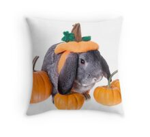 Pumpkin Patch Rabbit Throw Pillow