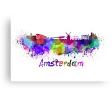 Amsterdam skyline in watercolor Canvas Print