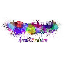 Amsterdam skyline in watercolor Photographic Print