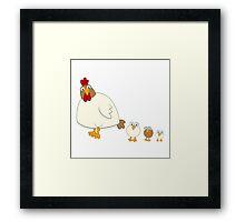 Cute cartoon hen with three fledglings Framed Print