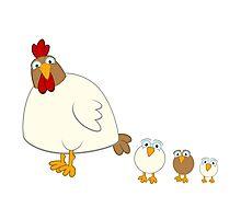 Cute cartoon hen with three fledglings Photographic Print