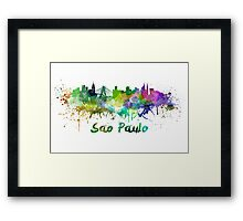 Sao Paulo skyline in watercolor Framed Print
