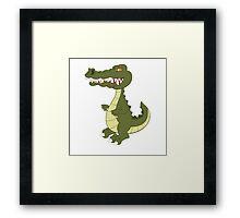 Funny cartoon crocodile Framed Print