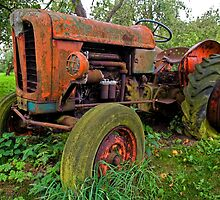 Old vintage tractor digital art by Ron Zmiri
