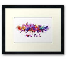 New York skyline in watercolor Framed Print
