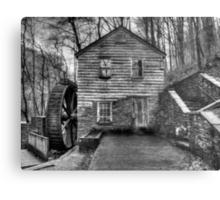 The Rice Gristmill (HDR) B&W Metal Print