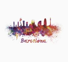 Barcelona skyline in watercolor Kids Clothes