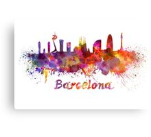 Barcelona skyline in watercolor Canvas Print