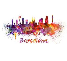 Barcelona skyline in watercolor Photographic Print