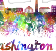 Washington DC skyline in watercolor Sticker