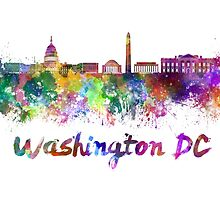 Washington DC skyline in watercolor by paulrommer