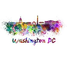 Washington DC skyline in watercolor Photographic Print