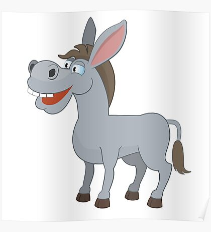Cute laughing cartoon donkey Poster