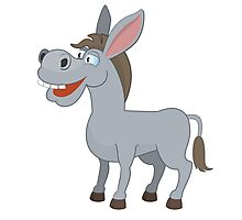 Cute laughing cartoon donkey Photographic Print