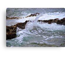 Water against Rocks - Mediterranean Sea, France. Canvas Print