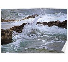 Water against Rocks - Mediterranean Sea, France. Poster