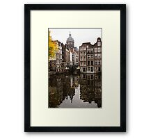 Amsterdam - Reflecting on Autumn Canal Houses Framed Print