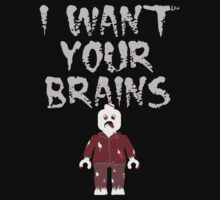 I WANT YOUR BRAINS ZOMBIE MINIFIG by ChilleeW