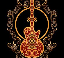 Intricate Red and Yellow Electric Guitar Design by Jeff Bartels