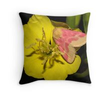 Pink on Yellow night time. Throw Pillow