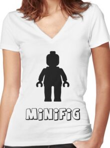 Minifig [Black], Customize My Minifig Women's Fitted V-Neck T-Shirt